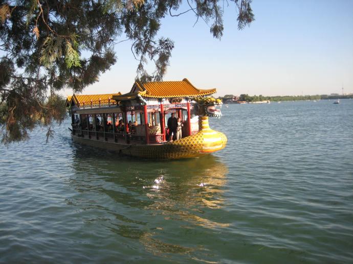 the dragon boat we take across the lake