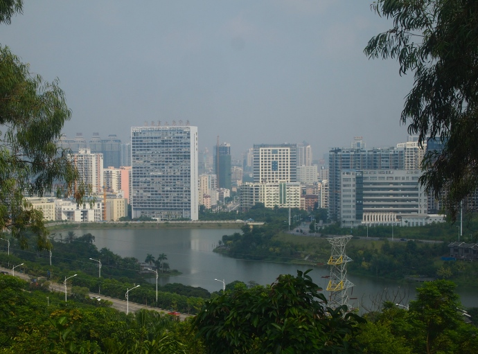 view of Nanning & the Yongjiang River from a pavilion along the Friendship Corridor