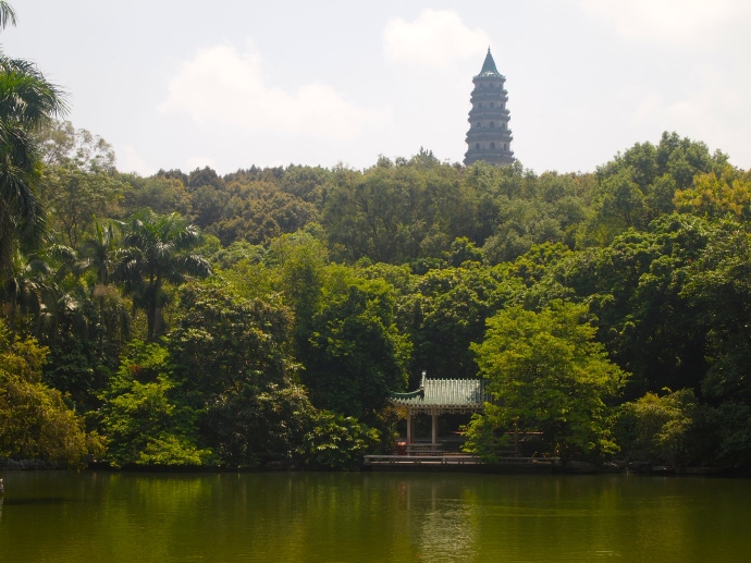 View of Sky Pond with Longxiang Tower on the hillside