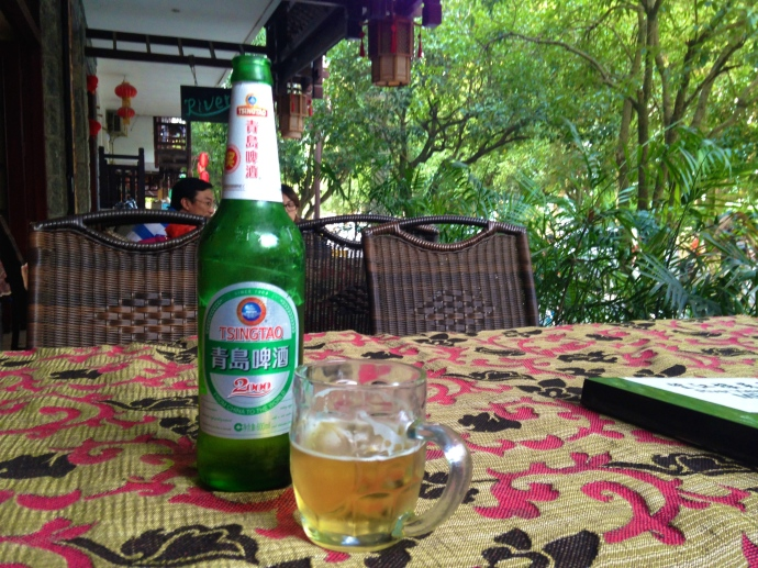 Tsingtao on the porch of the Yangshuo River View Hotel