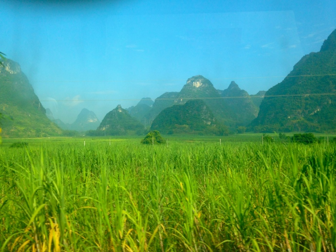 Karst landscape out the bus window