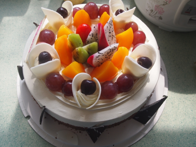 The birthday cake!  Notice the tomato in the middle!