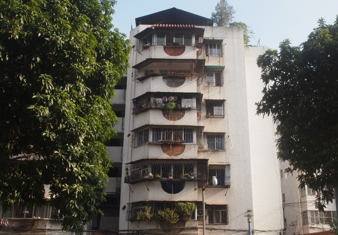 a residence building along the street