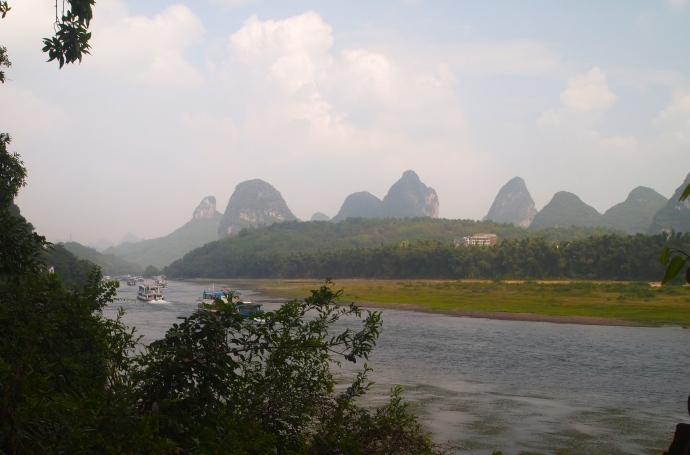 View of the Li River and karsts from Bin Jiang Road in Yangshuo