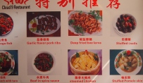 the menu on the wall at Cloud 9. The snails are a big item here in Yangshuo, but I never try them