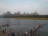 tourists on the Li River
