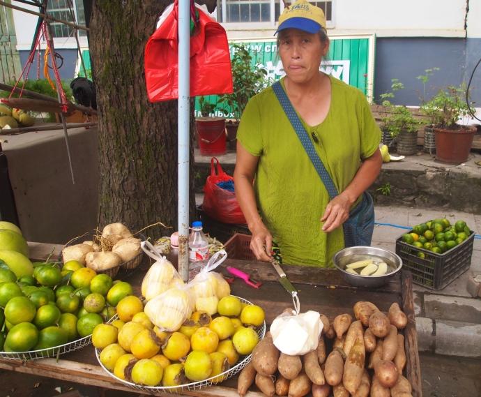 Fruit snacks near the bus terminal