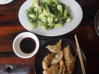 fried dumplings and bok choy