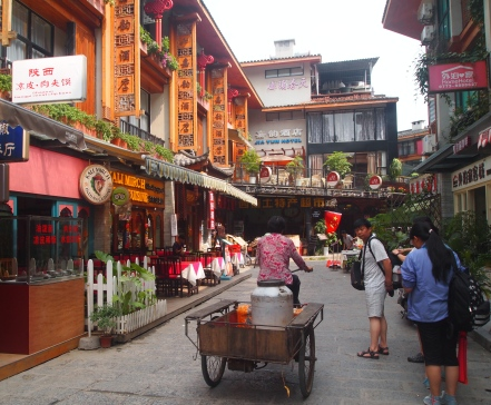 the pedestrian-only streets of Yangshuo
