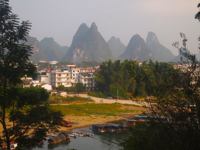 Looking north up the Li River from Green Lotus Peak