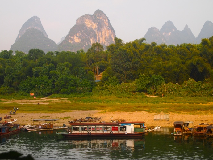 boats and karst landscape across the Li River