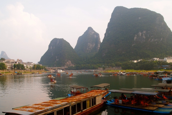 Boats at Yangshuo