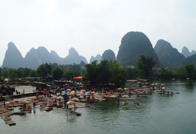 View of the Yulong River from another bridge downriver from Dragon Bridge