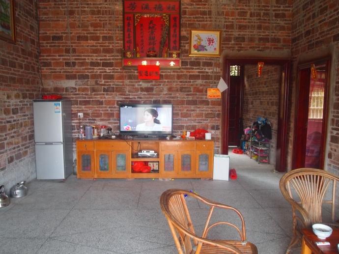 Chinese daytime drama on a big screen TV