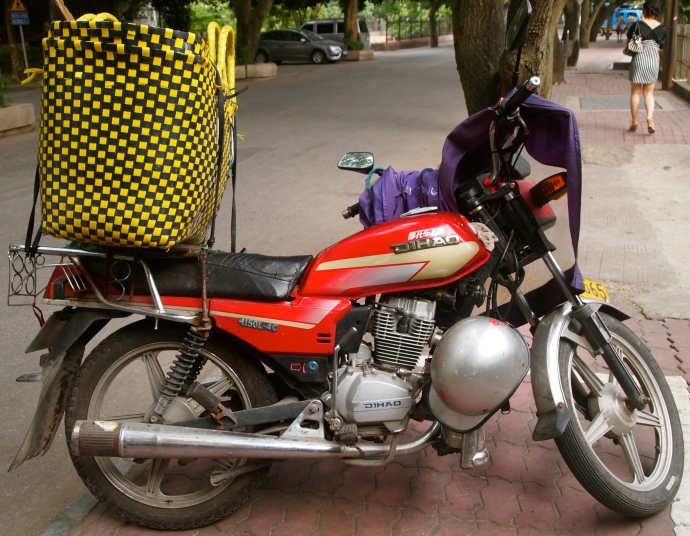 motorbike geared up for market day