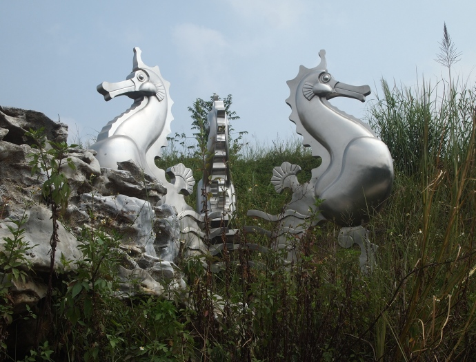 some crazy statues I pass as I make my way to the Medicinal Plant Garden