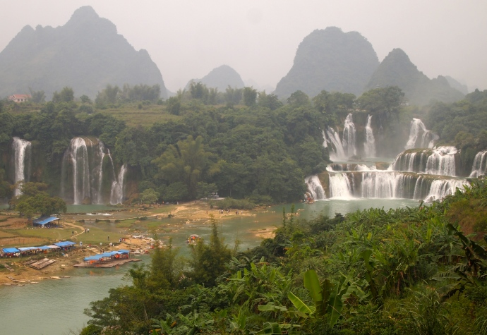 First view: Ban Gioc Waterfall on the left (Vietnam side) and Detian on the right
