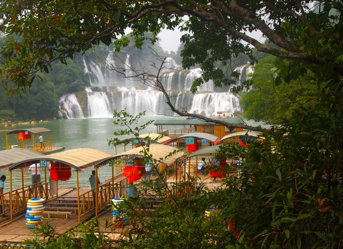 Bamboo rafts and Detian Waterfall