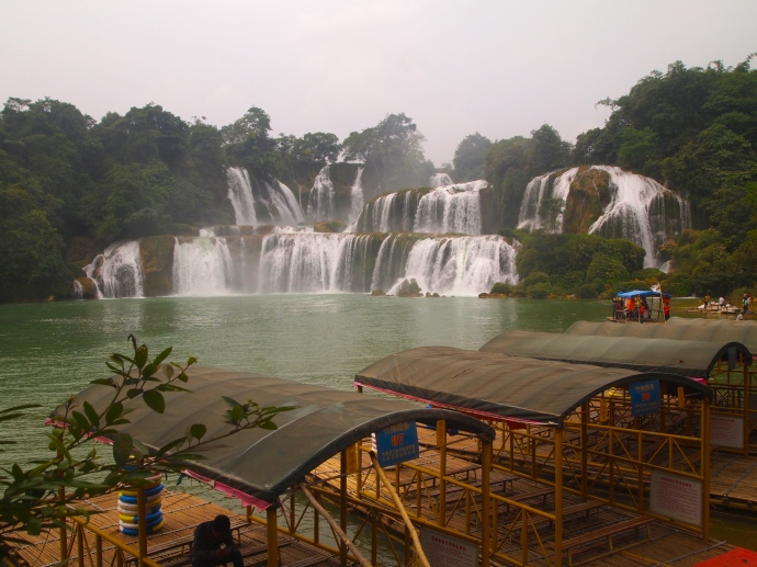 boat rooftops and Detian Waterfall