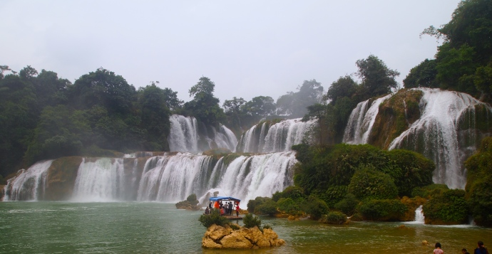 Detian Waterfall with a raft in front