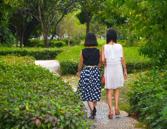 two of my students walk along the path