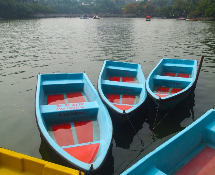 Boats on Bailong Lake