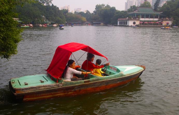Boating on Bailong Lake