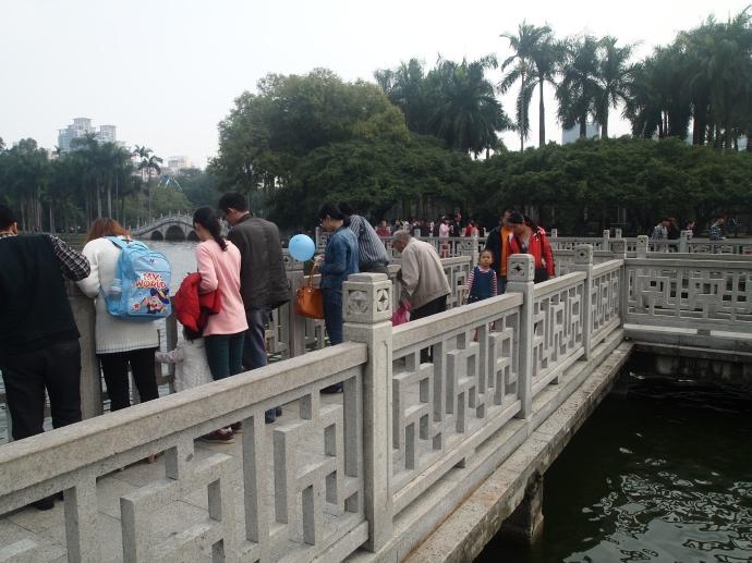 Crowds on Bailong Lake