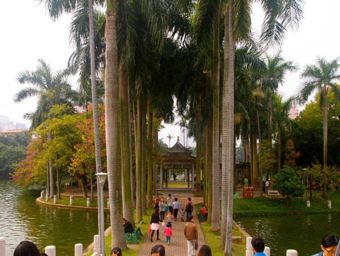 walkway to an island on Bailong Lake