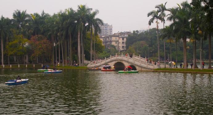 Bridge and boats on Bailong Lake