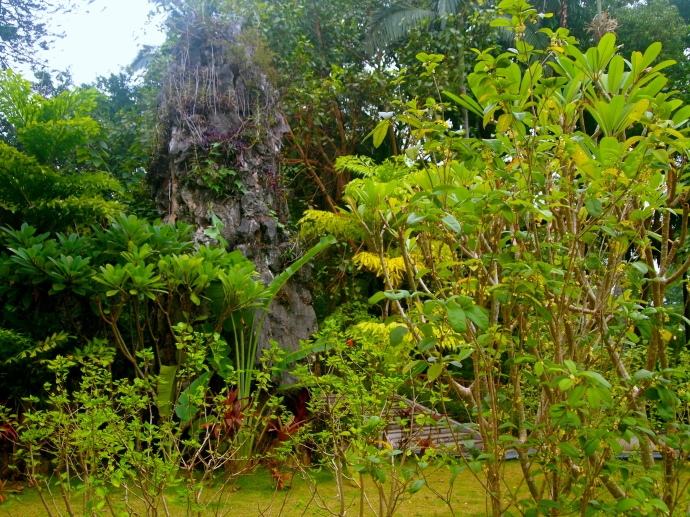 rock sculpture amidst tropical plants