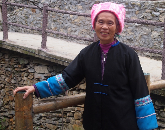 My Zhuang porter from last night and my guide for today.   She's the nicest and most cheerful woman imaginable!