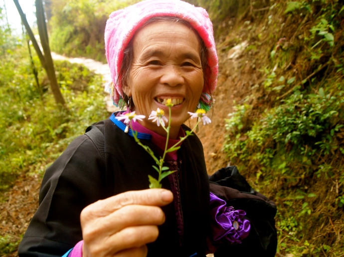 my Zhuang guide and her little bouquet