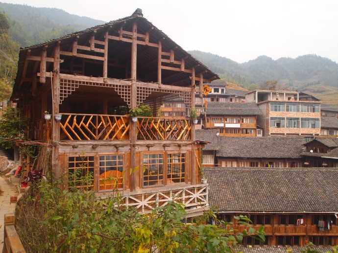 interesting wooden buildings in Ping'An