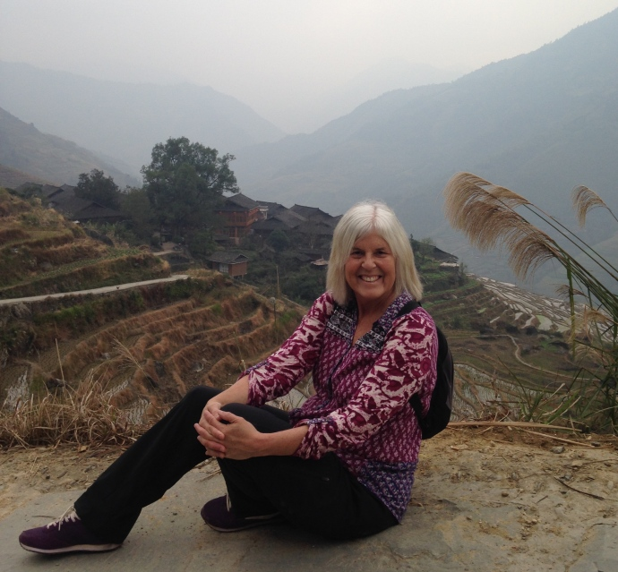 Me taking a rest along the way to the Longji Ancient Zhuang Village