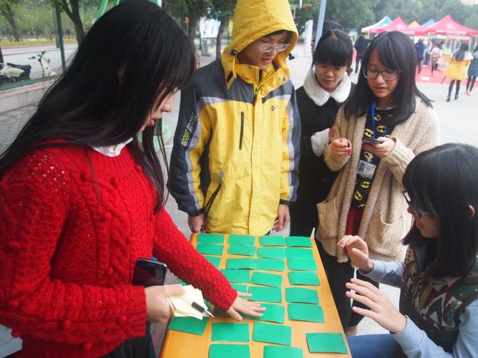 students playing a matching card game