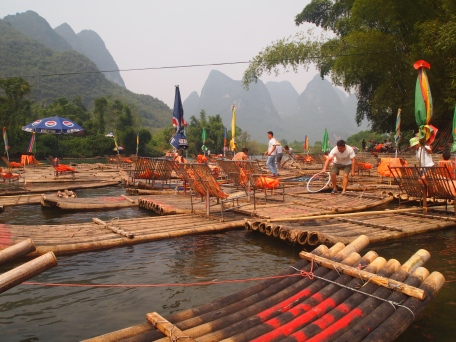 Bamboo raft down the Yulong River