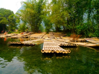 Bamboo boats along the Yulong River