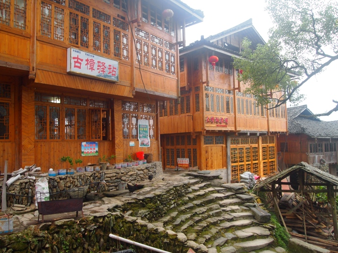 the wooden houses of the ancient village