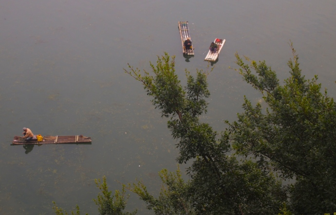 bamboo boaters in the Li River