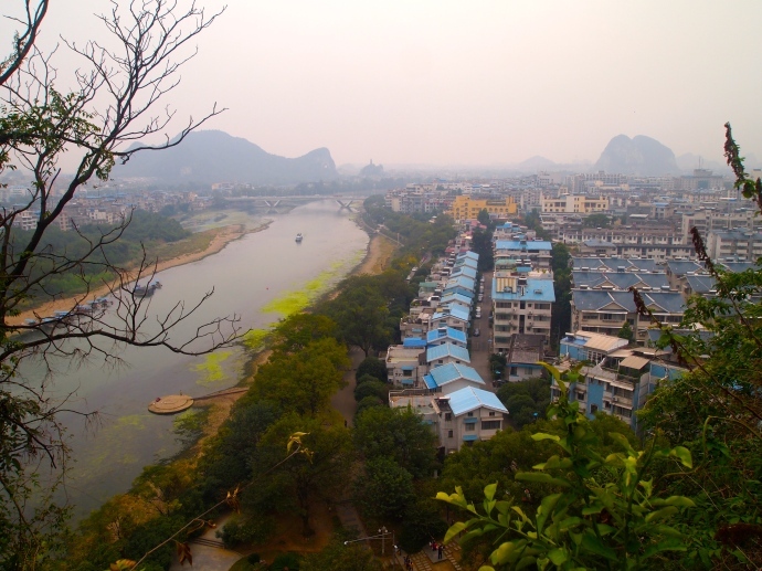view of Guilin down the Li River with karsts in the distance
