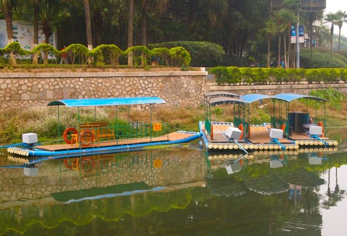 colorful tourist rafts