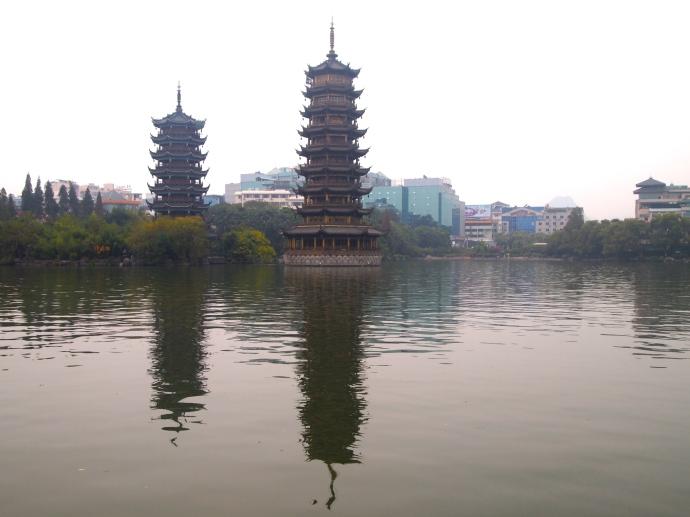 Twin pagodas called Riyue Shuang Ta on Shan Hu