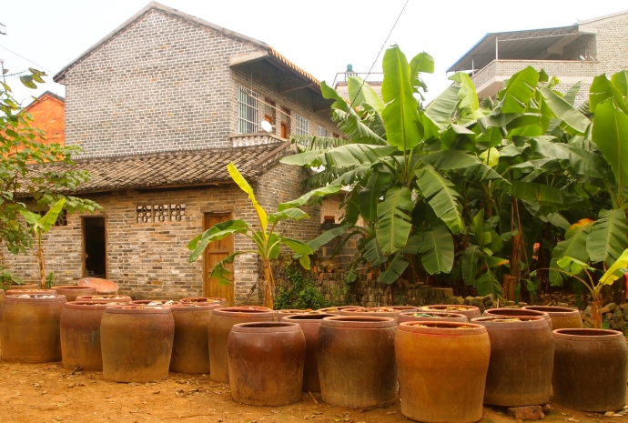 jars and tropical vegetation in the village