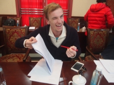 Caleb, marking first drafts of papers