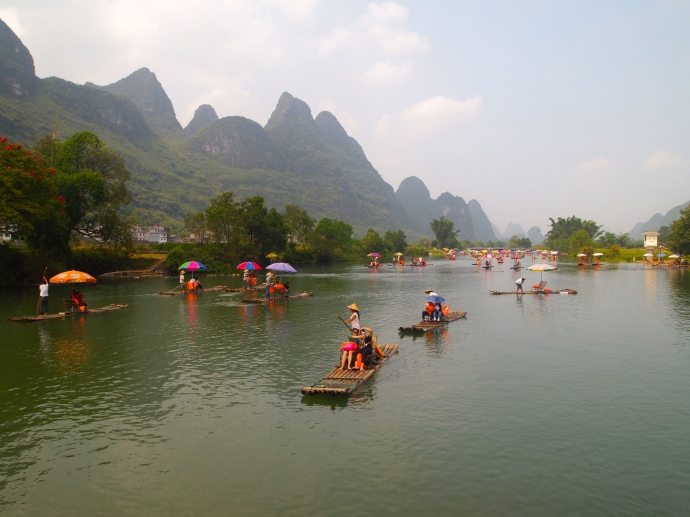 Boats on the Yulong River near Dragon Bridge in Yangshuo