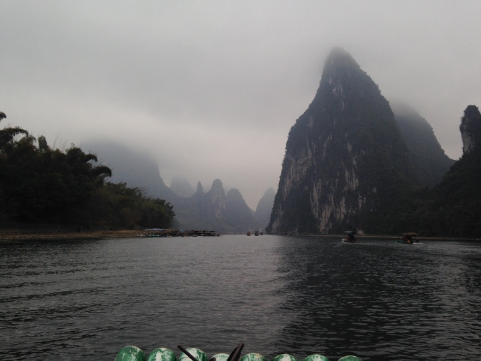 the Li River looking out over the end of our bamboo raft