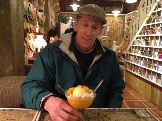 Mike at Mango sharing his mango dessert