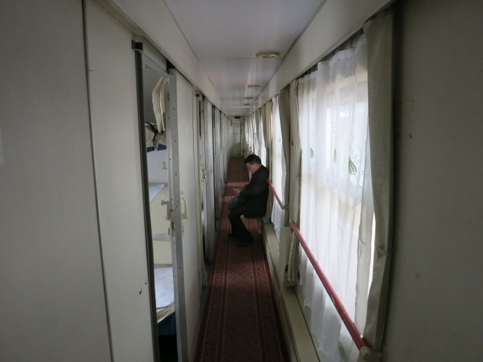 the aisle of the soft sleeper cars ~ where people can have some solitude - photo by Mike