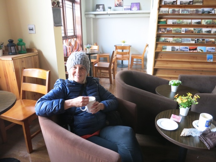 Me all bundled up in the coffee shop - Photo taken by Mike
